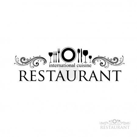 Illustration pour Idée de signe - restaurant - cuisine internationale. vecteur - image libre de droit