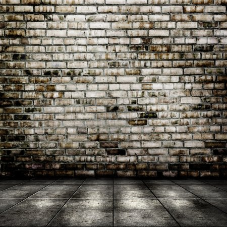Photo for Dark room with tile floor and brick wall background - Royalty Free Image