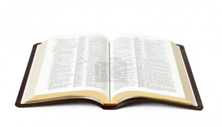 Open Holy Bible book isolated on white background...