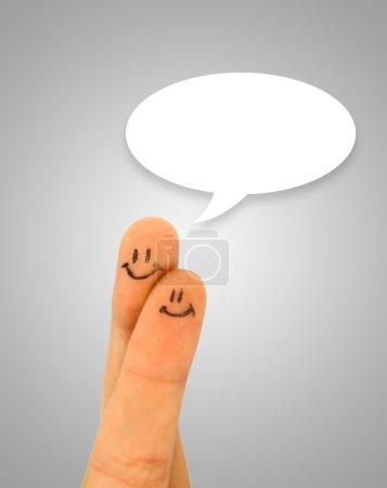 Foto de Smiley dedo pintado con discurso - Imagen libre de derechos