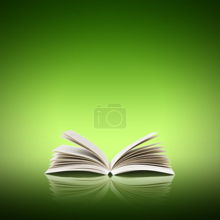 Photo for Open book isolated on green background - Royalty Free Image
