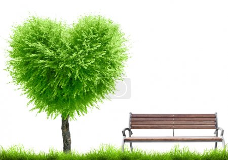 Photo for Green grass and tree heart shape and bench on white background with place for text. Valentine day concept - Royalty Free Image