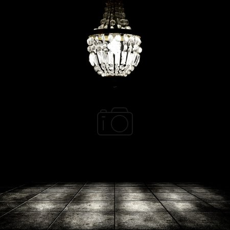 Photo for Image of grunge dark room interior with chandelier. Background - Royalty Free Image