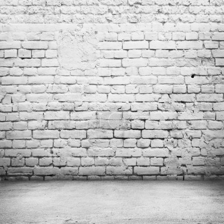 Photo for Bright room with tile floor and brick white wall background - Royalty Free Image