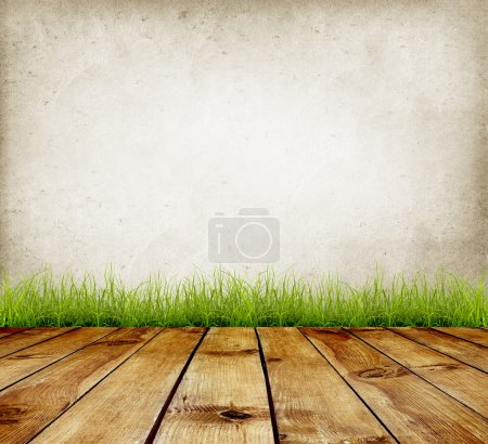 Photo for Old wall and green grass on wood floor background - Royalty Free Image