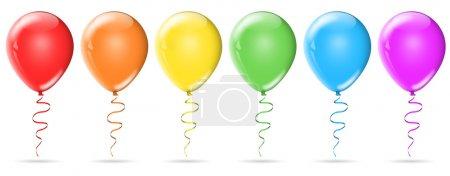 Photo pour Six ballons d'anniversaire de couleur isolés sur fond blanc - image libre de droit