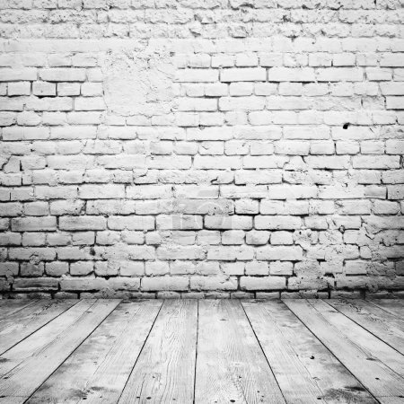 Photo for Room interior vintage with white brick wall and wood floor background - Royalty Free Image