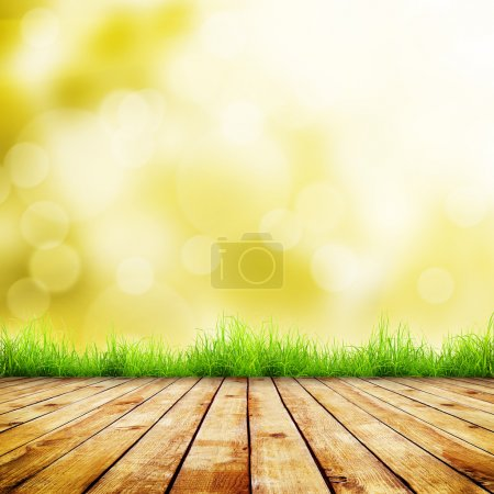Photo for Fresh autumn green grass with green bokeh and sunlight and wood floor. Beauty natural background - Royalty Free Image