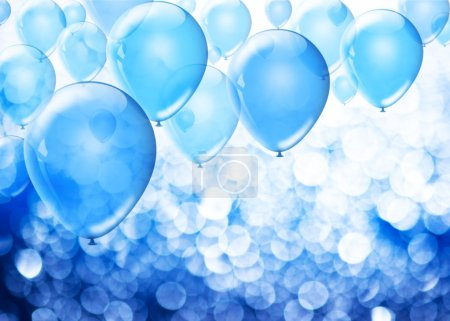 Photo for Blue birthday balloons over abstract background with place for text - Royalty Free Image