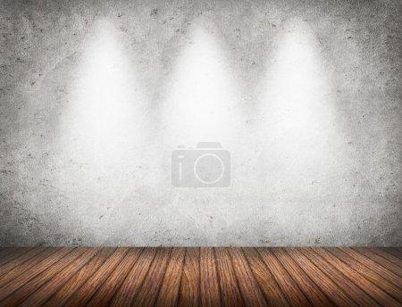 Photo pour Salle vide avec le mur blanc et le fond intérieur de plancher en bois - image libre de droit