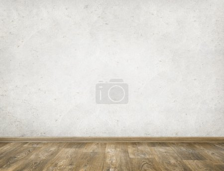 Photo for Empty room with white wall and wooden floor interior background - Royalty Free Image