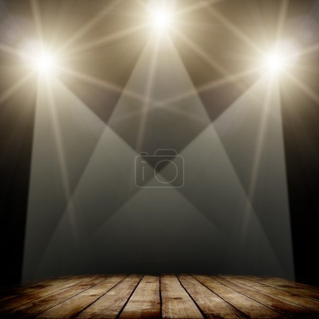 Photo pour Illustration de l'éclairage spot concert sur fond sombre et plancher en bois - image libre de droit