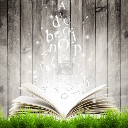 Photo for Open book with flying letters in green grass over wooden background. Magic book - Royalty Free Image