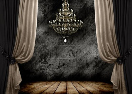 Photo for Image of grunge dark room interior with wood floor and chandelier. Background - Royalty Free Image