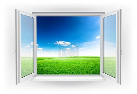 Photo for Open window with green field under blue sky on a background - Royalty Free Image