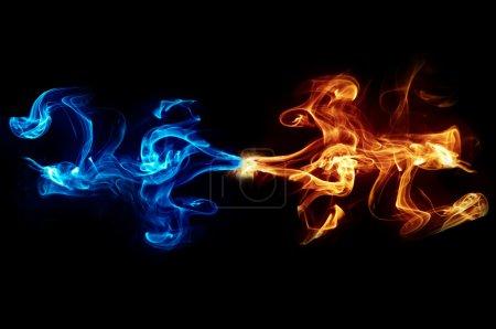 Photo pour Fond abstrait flamme bleu et jaune - image libre de droit