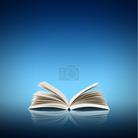 Photo for Open book isolated on blue background - Royalty Free Image