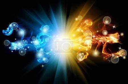 Photo pour Flamme abstraite bleue et jaune avec rayons sur fond noir - image libre de droit
