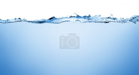Water and air bubbles over white background with s...