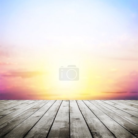 Photo for Blue sky with clouds and wood planks floor background - Royalty Free Image