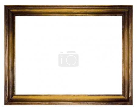 Photo pour Cadre photo vintage, plaqué bois, fond blanc - image libre de droit