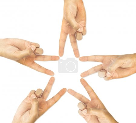 Photo for Hands of teamwork , forming the star shape - Royalty Free Image