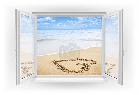 Open window with beach