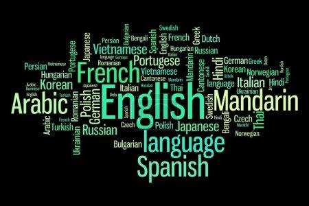 Photo pour Langues du mot monde nuage illustration. notion de collage de mot. - image libre de droit