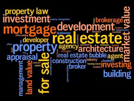 Photo pour L'investissement immobilier et commercial mot nuage illustration. notion de collage de mot. - image libre de droit
