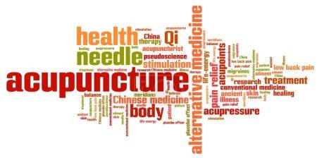 Photo pour Acupuncture médecine alternative questions et concepts nuage de mots illustration. Concept de collage de mots . - image libre de droit