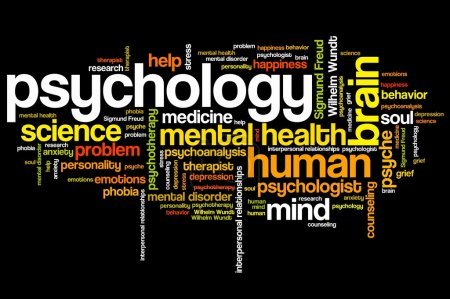 Photo for Psychology issues and concepts word cloud illustration. Word collage concept. - Royalty Free Image