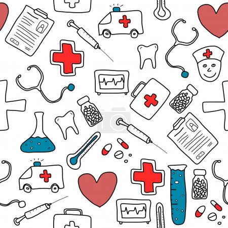 Illustration for Seamless pattern with healthcare, medicine and pharmacy icons and symbols. Medical background doodle. - Royalty Free Image