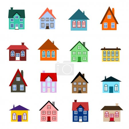 Illustration for House set - colourful home icon collection. Illustration group. Private residential architecture. - Royalty Free Image