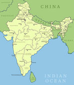 India map Outline illustration country map with state names and their capital cities