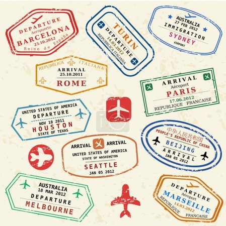 Illustration for Colorful fictitious visa stamps set. International business travel concept. Frequent flyer visas. - Royalty Free Image