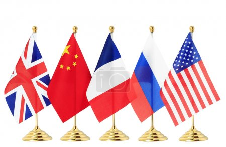 Photo pour Drapeau de la Chine france Russie uk usa, isolé sur le backgroun blanc - image libre de droit