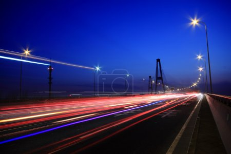 Photo for Large city road night scene, night car rainbow light trails - Royalty Free Image