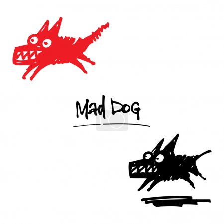 Illustration for Mad Dog angry animal pet cartoon ink drawing - Royalty Free Image