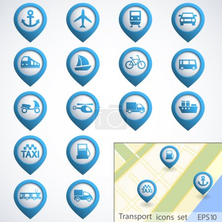 Transport buttons set with map. Vector illustratio...