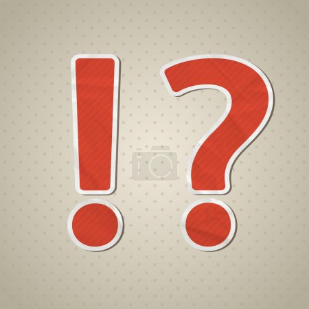 Question mark and exclamation mark in retro style. Vector illustration. Eps10.