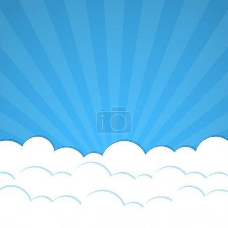 Illustration pour Fond abstrait avec Rayons et nuages. Illustration vectorielle . - image libre de droit