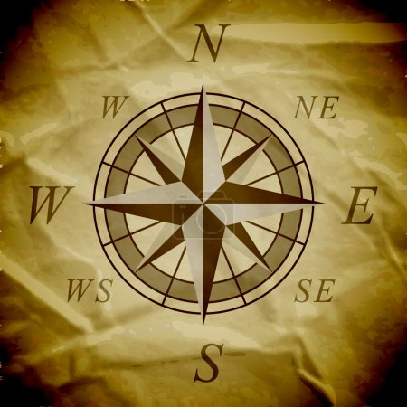 Illustration for Wind rose on an old paper. Vector illustration. - Royalty Free Image