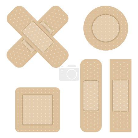 Illustration for Set of Adhesive bandage. Vector illustration. - Royalty Free Image