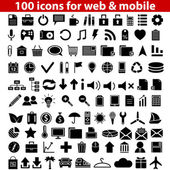 Set of 100 universal icons for web and mobile Vector illustration