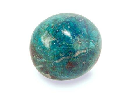 Chrysocolla stone isolated on white...
