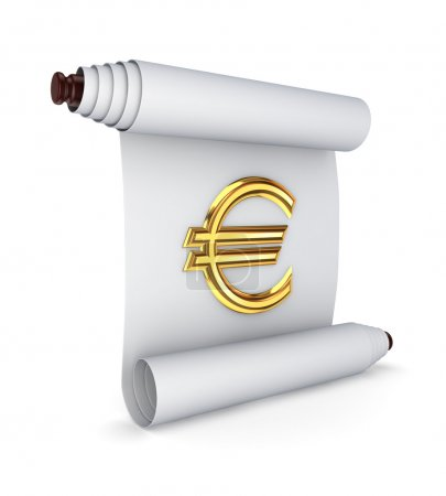 Ancient scroll with a euro sign.Isolated on white ...
