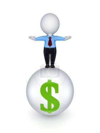 Photo pour Petite personne 3d sur une sphère avec signe dollar Isolé sur fond blanc . - image libre de droit