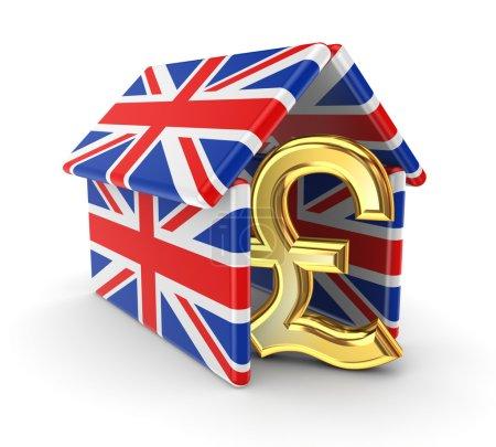 Photo pour Livre sterling sous un toit fait de drapeaux britanniques. - image libre de droit