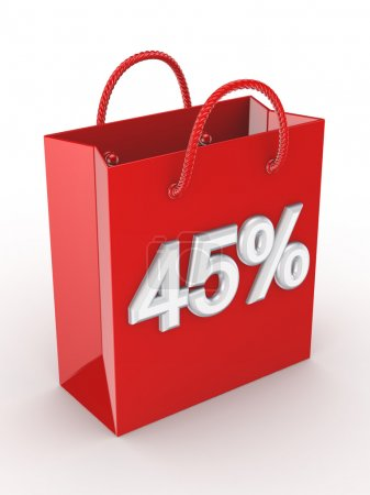 """The red bag labeled """"45%""""."""
