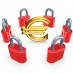 Постер, плакат: Red locks around symbol of euro